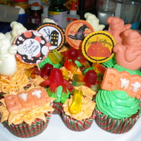 Halloween Cupcakes For Kids Chocolate cupcakes topped with halloween themed chocolate moulds