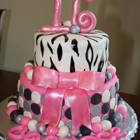 Sweet 16 Zebra And Circles Cake This is a Vanilla cake with Vanilla BC and MMF. Hand rolled all the balls around the edge and handpainted the zebra stripes.