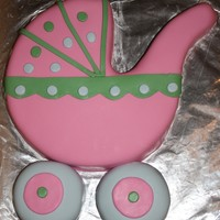 "Baby Carriage Cake   This is a red velvet cake with vanilla bc and mmf. I used a 10"" round for the main part and 4"" round cakes for the wheels."