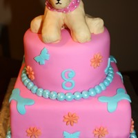 Webkinz Cake   This is a cake I made to match a little girls golden retriever webkinz. The dog is made out of rice krispie treats covered with mmf.