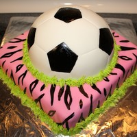 Soccerball Hot Pink Zebra Cake   This is a vanilla cake with vanilla buttercream and mmf. I hand painted the soccerball and the zebra design.