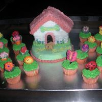 Olivia's Birthday Cake Olivia's puppy themed birthday cake w/ garden themed cupcakes topped with handmade candies