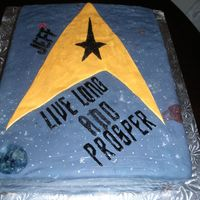 Dhs Star Trek Birthday Cake MMF w/ buttercream accents. hand painted dark fondant. lettering is royal icing (except for the couple letters that I broke, which were...