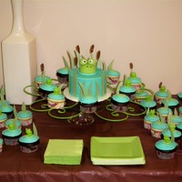 Frog Baby Shower Baby shower cake & cupcakes. Cake is chocolate with buttercream frosting topped with fondant frog. Cupcakes are white & chocolate...