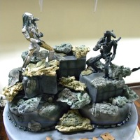 Aliens Cake ALL MADE HAND IN GUM PASTE. I USE PETAL DUST, METAL PETAL DUST, AND AIRBRUSH......ALL ALL IN SUGAR...