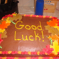 Fall Cake   fondant leaves brushed with pearl dust, chocolate frosting