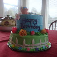 Gardner Birthday Cake   buttercream icing with fondant accents