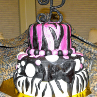 Zebra Print 23Rd Birthday Cake This is my very first Fondant cake. Thanks to all of my friends at Cake Central. I was able to re-create this cake. The fondant is...
