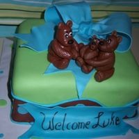 Boy Shower Chocolate cake with MMF and teddy bear