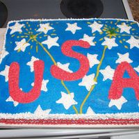 Stars And Fire Works Sheet cake decorated with buttercream and Wilton Sparkle Gel! TFL