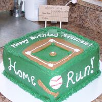 Square Baseball Cake Decorated in Buttercream - handmade scoreboard, wax baseball