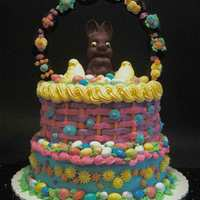 Quick & Easy Easter Cake An abundance of appealing Easter candy made this cake a joy to create. I used chocolate-covered marshmallow eggs for the handle, M&M...