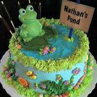 Nathan's Pond Baby Shower Cake Made for a frog-themed baby shower. Invitation included frogs, caterpillars and snails which are all included in the cake's design....
