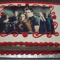 Twilight 2 An edible image on a strawberry cake with vanilla buttercream