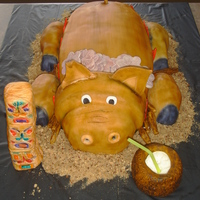 Luau My first pig and airbrushed cake. Pina Colada cake with fondant. Tiki and coconut drink fondant. Logs and flames also fondant. Sand is...