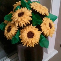 Sunflower Cupcake Bouquet Mint chocolate cupcakes with buttercream sunflower. Sorry for the sideways pic. For some reason it would not let me rotate it. TFL!!!