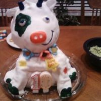 Crazy Cow Crazy Cow birthday cake. I used 2 Barbie Doll cake pans. My daughter painted crazy cow patches. I used MMF over chocolate cake.
