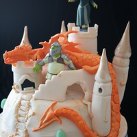 Dragon Cake   All made from fondant except the Shrek figurines.