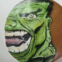 Go Green. Eat The Hulk! Hand Painted Fondant on Chocolate Cake