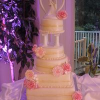 Floral Wedding Cake Gotta say, I had my doubts about the pillars...but I liked them after all was said and done.