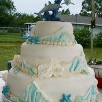 Ocean Wedding Cake White chocolate shells. Waves are fondant and airbrushed.