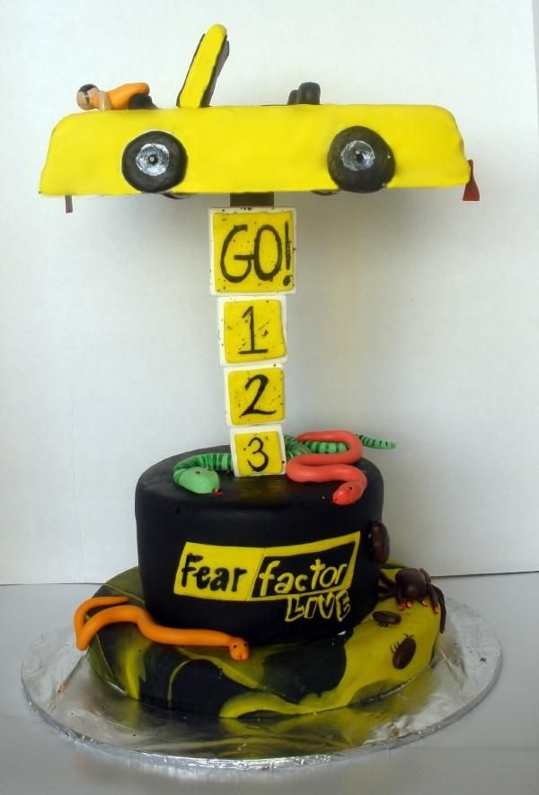 Fear Factor Live Cake The Fear Factor Live show at Universal Studios in Orlando was closing after 4 years! They had me make this cake for their end of show party...