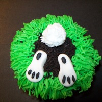 Underground Bunny   Buttercream grass with Oreo cookie crumbs. Bunny is fondant. really fun to make.