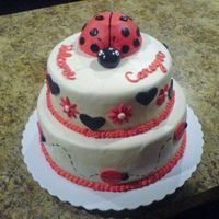 Ladybug Baby Shower This cake is a ladybug cake I made for a baby shower. It was only my 10th fondant cake.
