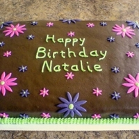 Girl's Birthday Chocolate cake with chocolate buttercream and fondant.