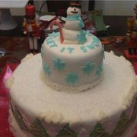Let It Snow, Let It Snow, Let It Snow...... Red Velvet, cream cheese filling and frosting. Covered in Fondant, fondant accents and sugar crystals. Lots of fun.