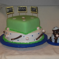 Cub's First Birthday For a first birthday boy. Fondant covered diamond, sugar lights, buttercream, fondant decorations.