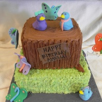 Birds And Butterflies 1St Birthday I had a tough time with this one because they wanted chocolate buttercream but I think it came out okay. Tree was done with a star tip and...