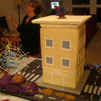 House, Building Or Spiderman Scene Cake for my son's fifth birthday. I never completely finished the cake. I was supposed to paint/color the bricks but after keeping the...