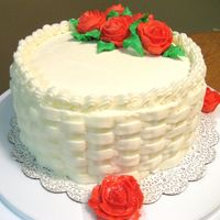 Course I Course I cake. basketweave w/buttercream roses.