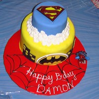 Super Hero Cake I got this idea from all the great designs on CC, so thank you! My son is OBSESSED with superheroes, so of course we had to have a themed...