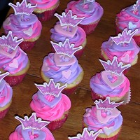Princess Cupcakes WASC cupcakes with pink and purple swirled buttercream, topped with luster dusted fondant heart and Princess crown cupcake topper
