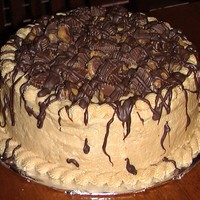 Chocolate And Peanut Butter Reeses Cake The cake is chocolate with peanut butter frosting, topped with chopped reeses cups and finished with melted chocolate drizzled over the top...