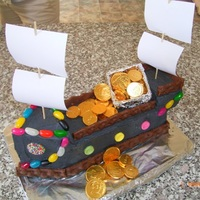 Pirate Ship My son's 5th birthday cake, from the woman's weekly kids cake book. I made up a treasure hunt that the kids had to figure out. It...