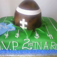 Football Explosion This cake was for a 2yr olds birthday. For some reason I had a vision of a football ripping through the field and decided to try it. I was...