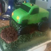 Monster Truck Cake Made this cake for a friend's son's sixth birthday. Cake is chocolate with vanilla cream filling. Buttercream icing for the base...