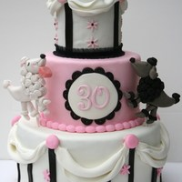 French Poodle Cake Made for a girl who LOVES her poodles!!!