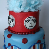 Thing 1 And Thing 2 Made for a twin's first birthday party. Cotton candy on top, buttercream w/ marshmallow fondant decorations.