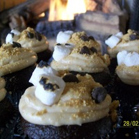 S'mores Cupcakes Chocolate cupcakes with a cream cheese/marshmallow icing that has graham cracker crumbs mixed in.
