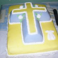 Baptism Cross Cake   This was my first experience with fondant. I really enjoyed doing this cake.