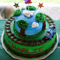 Thomas Train And Friends Cake   I made this cake for my son's 2nd birthday. All buttercream with cream cheese filling.