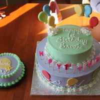 2 Tier Balloon Birthday Cake Green tier Yellow cake, Lavender tier Chocolate cake, both with chocolate genache filling. Balloons are fondant.