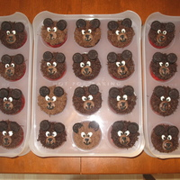 Teddy Bear Picnic Cupcakes Chocolate cupcakes with chocolate buttercream. Mini Oreos for ears.