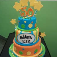 Bright School 50Th Anniversary First time making 3 tiers! I made it for the 50th birthday celebration of my son's school. Gumpaste 50 and plaque, everything else is...