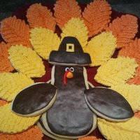 "Turkey Cookie Tray Last-minute cookie tray for my son's class Thanksgiving party. NFSC with yellow and orange buttercream ""feathers"" and 50/50..."