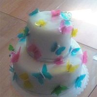 Color Butterflies I finally was able to do the gelatin butterflies. I love them. This cake was for a 8 year old birthday.